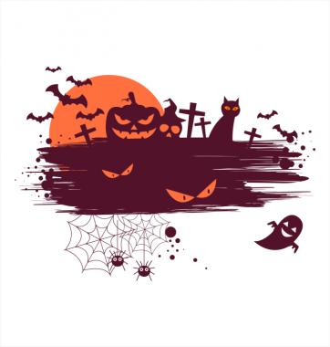 Свитшот с принтом  Закат на Хэллоуин