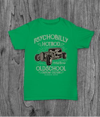 Футболка с принтом Psychobilly Hotrod