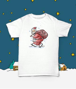 Футболка с принтом Дед Мороз в пути