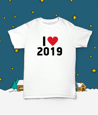 Футболка с принтом I love 2019