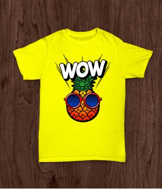 Футболка с принтом WOW ананасик