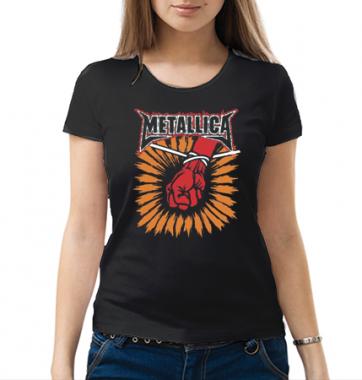 Женская футболка с принтом Металика