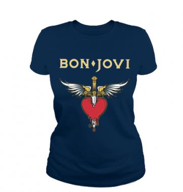Женская футболка с принтом Bon Jovi
