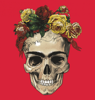 Свитшот с принтом Череп и розы