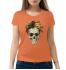 Женская футболка с принтом Череп с розами