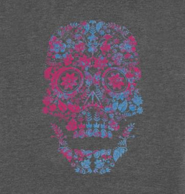 Женская футболка с принтом Цветной череп