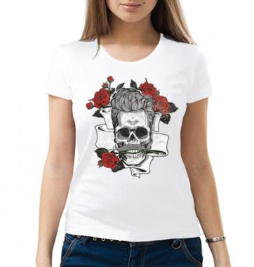 Женская футболка с принтом Череп и цветы