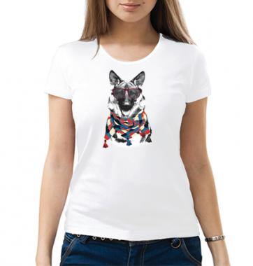 Женская Футболка с принтом Крутой пес