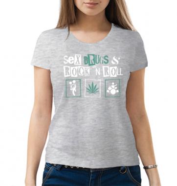 Женская футболка с принтом Sex drugs and rock n roll