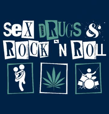 Футболка с принтом Sex drugs and rock n roll