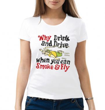 Женская футболка с принтом Smoke And Fly