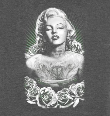 Женская футболка с принтом Мерлин Монро роза