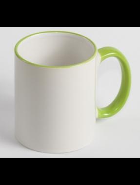 Чашкабелаясцветным ободком иручкой