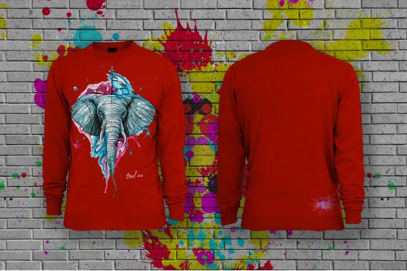 Свитшот  с принтом Слон SIDART